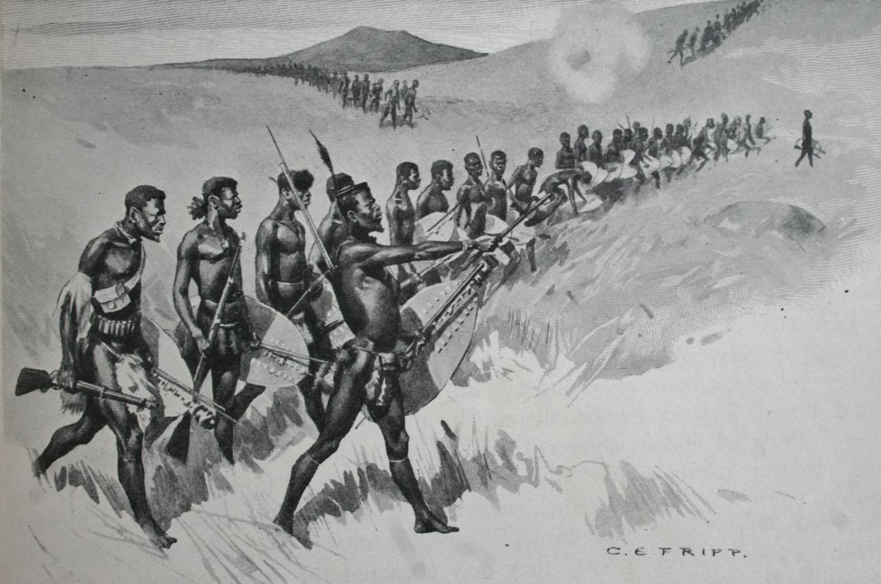 A Zulu regiment attacking at iSandlwana (Amabutho)