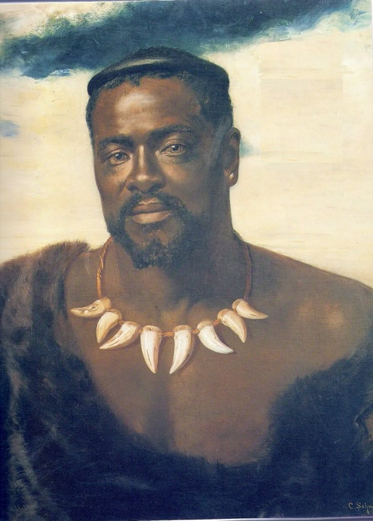 Cetshwayo, Zulu King in a portrait painted when he visited England by invitation of Queen Victoria in 1880